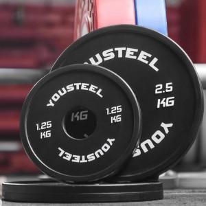 Диски для штанги малые каучуковые YouSteel 0,25 - 2,5 кг черные