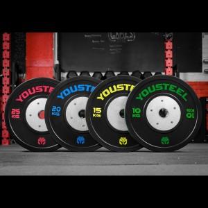 Диски тяжелоатлетические YouSteel 10-25 кг с цветной полосой