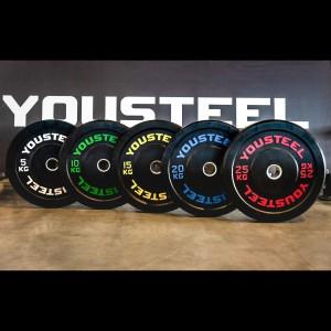 Диски для штанги  бамперные каучуковые YouSteel 5 - 25 кг черные