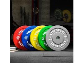 Диски  для штанги бамперные каучуковые YouSteel 5 - 25 кг цветные