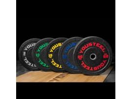 Диски бамперные для штанги YouSteel HI-TEMP 5 - 25 кг с цветными вкраплениями