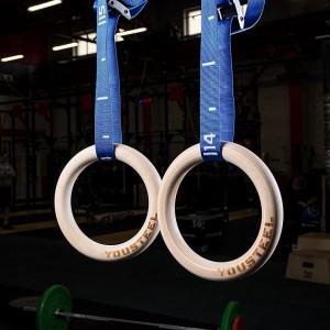 Гимнастические кольца YouSteel (D=32 см) синяя стропа