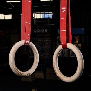 Гимнастические кольца YouSteel (D=32 см) красная стропа
