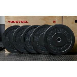 Диск YouSteel для штанги каучуковые бамперные 5 - 25 кг черные