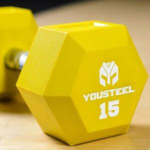 Гантель гексагональная цветная полиуретановая YouSteel 15 кг