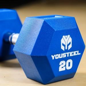 Гантель гексагональная цветная полиуретановая YouSteel 20 кг